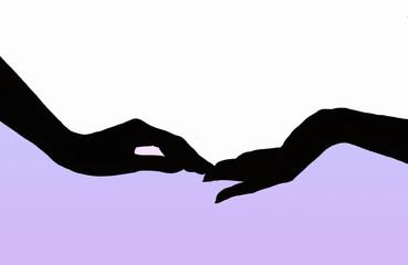 Female hands silhouette.