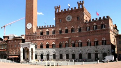 Town Hall on main square in Siena Piazza del Campo, Tuscany