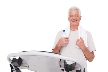 Senior man on the treadmill