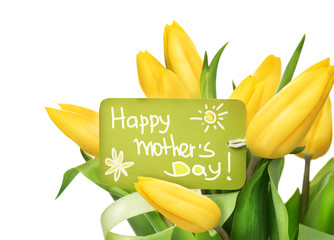 Mother's Day yellow tulips flower bunch with greeting card