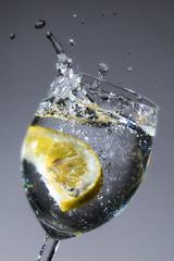 lemon in wather-glas gray backgrund