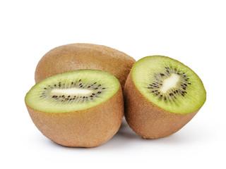 ripe sliced kiwi fruit sliced isolated on white