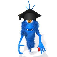 Monster with Graduation Cap and Diploma