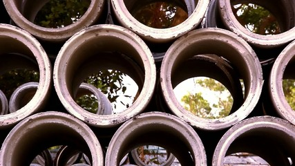 Industrial concrete pipe for building construction. Video shift