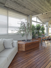 exterior view of a modern terrace with parquet