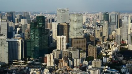 Zoom Out - View of Tokyo Skyline from Roppongi Hills Tower - Tokyo Japan