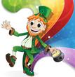 Leprechaun on rainbow background
