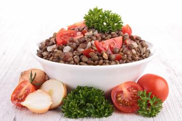 bowl of lentils salad