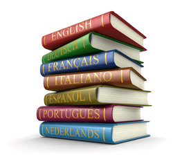 Stack of dictionaries (clipping path included)