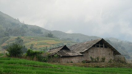 Zoom Out of Farm House with Rice Terraces in Valley -  Sapa Vietnam
