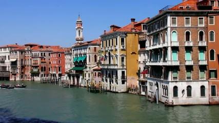 View of the city near Grand Canal from Rialto Bridge. Venice.