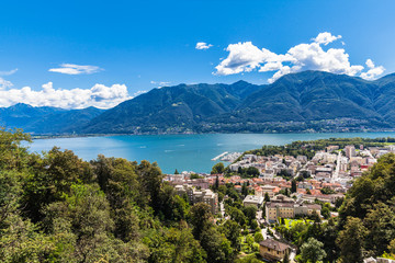 Locarno city and Mggiore lake