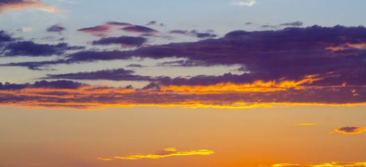 beautiful orange clouds on the sunset