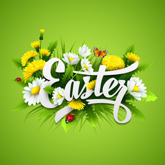 Title Easter with spring flowers. Vector illustration