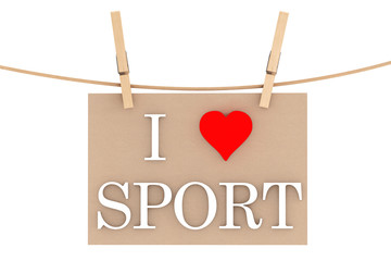 I Love Sport with heart hanging with clothespins
