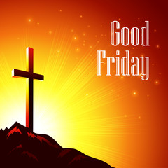 Good Friday. Vector illustration with the image of Calvary