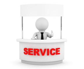 Person with Blank Service Stand