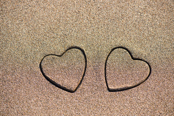 heart shape on sand