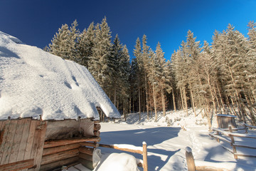 winter, mountain old chalets