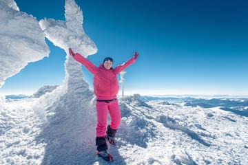 Climber, top, woman, joy
