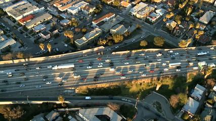 Aerial View of Los Angeles Freeway / Highway / Suburbs