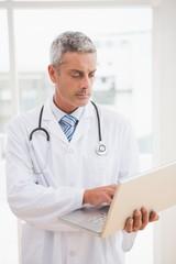 Doctor using laptop smiling to camera