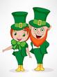 Happy St. Patrick's Day celebration with Leprechaun couple.