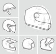 Motorcycle helmets vector set - 78893621