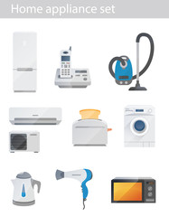 Household appliances vector set