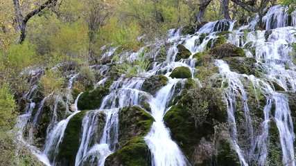 waterfall in autumn , jiuzhaigou valley , China