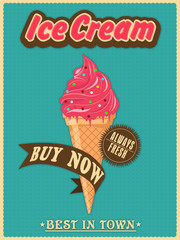Vintage menu card design for fresh Ice Cream.