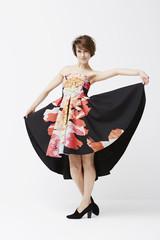 Gorgeous woman posing in dress