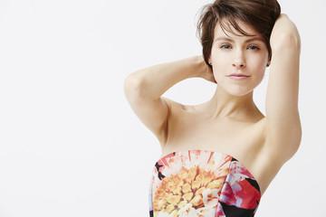 Sexy woman posing in dress