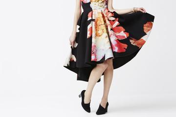 Woman posing in fashionable dress