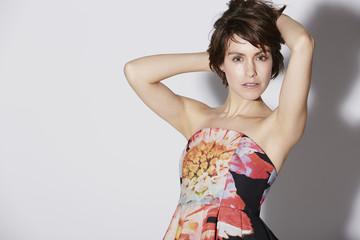 Glamorous woman posing, studio