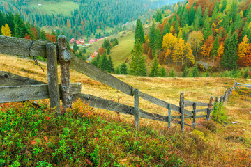 Wonderful autumn hillside in Transylvania