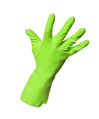 Green protection glove isolated on white background