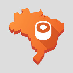 Orange Brazil map with a sushi