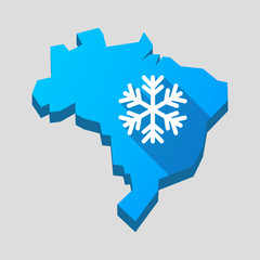 Blue Brazil map with a snow flake