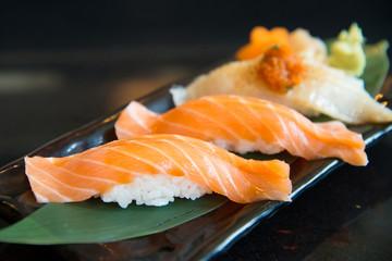Close up salmon sushi and engawa sushi