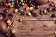 Chocolate Easter Eggs Over Wooden Background - 78897030