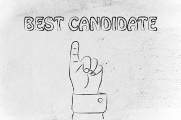 hand pointing at the writing Best Candidate