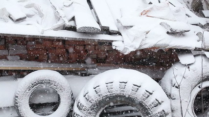 Snow covered tires