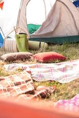 Bohemian style campsite at festival