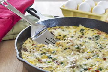 Frittata in a cast iron skillet with eggs, broccoli & spinach