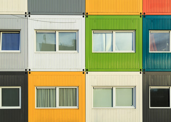 Colorful cargo containers apartments for students.