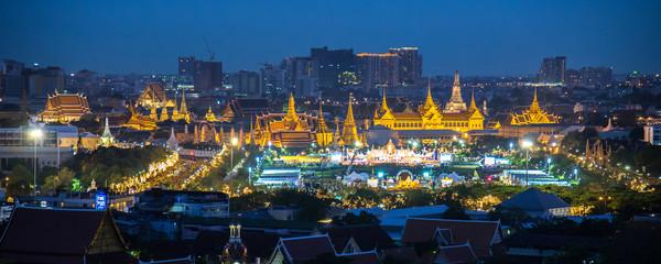 Panorama view at Sanam Luang and Grand palace, 5 December 2014