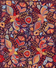 Seamless pattern with flowers and butterflies in dark background