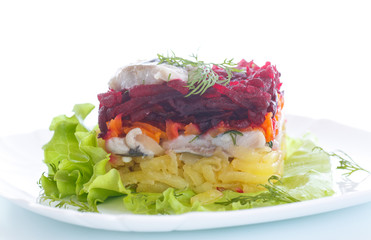 salad with herring and boiled vegetables