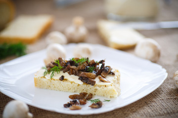 sandwich with mushrooms